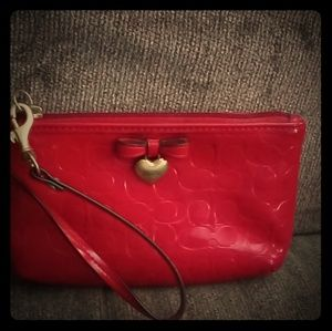 Red Coach patent leather wristlet